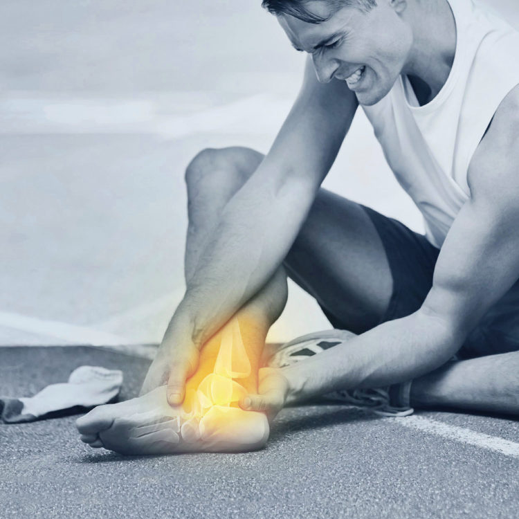 A patient suffering with a sports injury. Treatments are available from Tom Claykens at Biddenden Chiropractic.