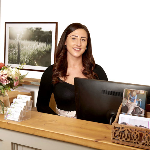 Chloe Brockman our receptionist at Biddenden Chiropractic. We offer a range of treatments for back, shoulder, knee and neck pain.