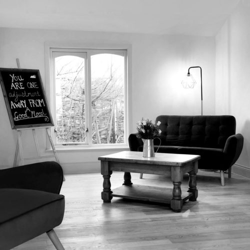 The waiting room at Biddenden Chiropractic. We offer a range of treatments for back, shoulder, knee and neck pain.